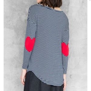 Heart elbow patch navy and white striped shirt